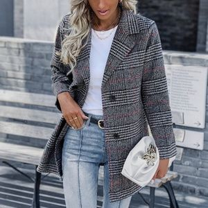 plaid double breasted trench pea coat preppy tweed